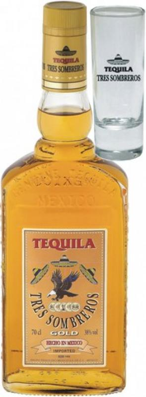 "Tres Sombreros"" Tequila Gold, with glass"