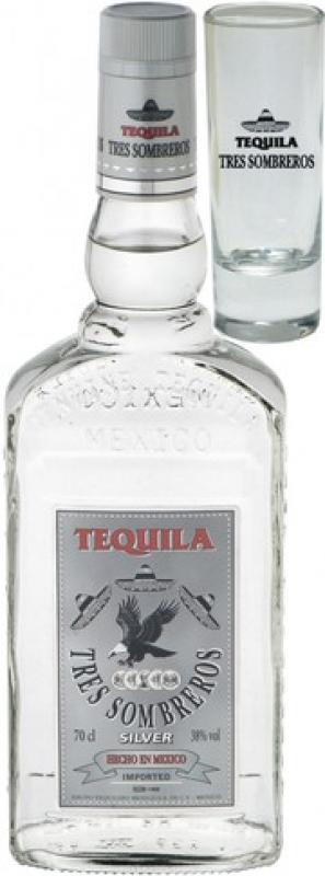 Tres Sombreros Tequila Silver, with glass