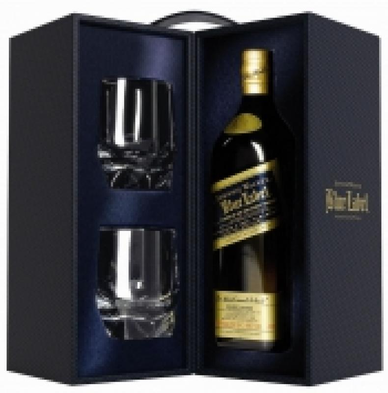 Johnnie Walker Blue Label, with 2 glasses