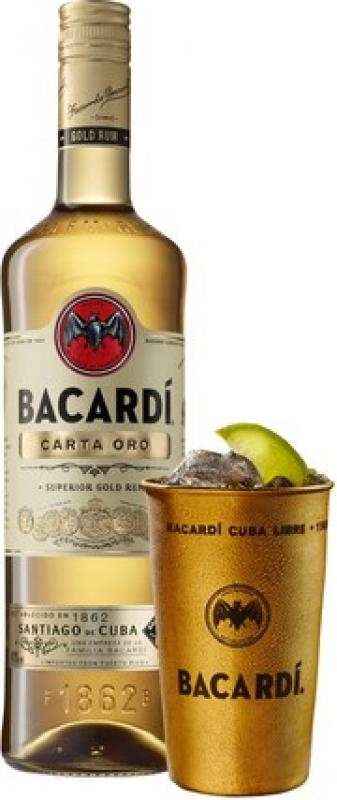 """Bacardi"" Carta Oro, with metal cup"