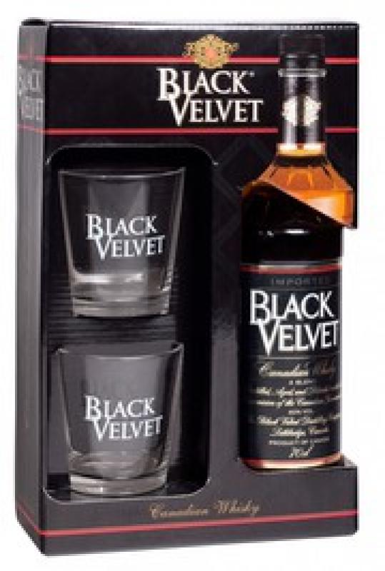 """Black Velvet"", gift box with 2 glasses"