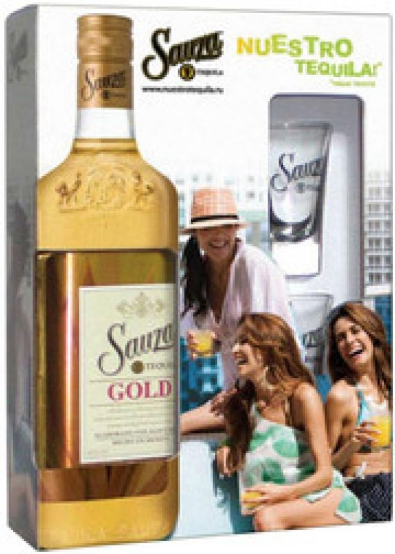 "Sauza ""Gold"" with 2 glasses"