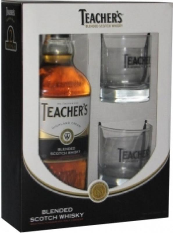 Teacher's Highland Cream, gift box with 2 glasses