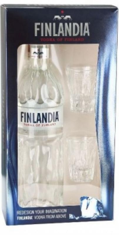 """Finlandia"", gift box with 2 shot glasses"