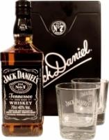 Jack Daniels, metal box with 2 glasses