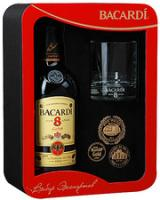"""Bacardi"" 8 years, gift box with glass"