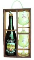 "Bosteels, ""Tripel Karmeliet"", wooden box with 2 glasses"