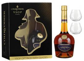 Courvoisier V.S.O.P., gift box with 2 glasses